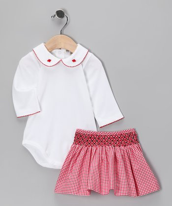 White Pima Bodysuit & Red Gingham Skirt - Infant