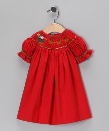Red Santa's Sleigh Bishop Dress - Infant & Toddler