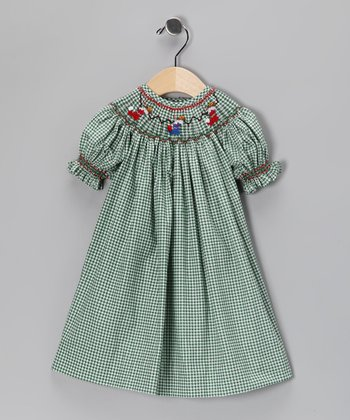 Green Stocking Gingham Bishop Dress - Infant