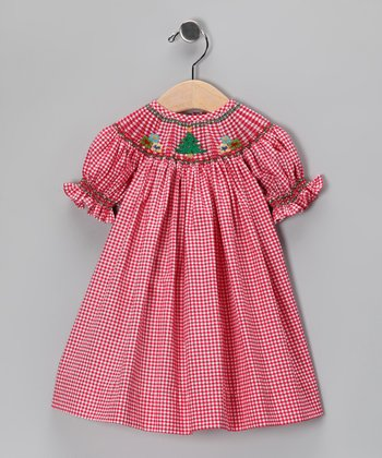 Red Christmas Tree Gingham Bishop Dress - Infant & Toddler