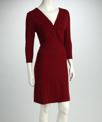 Wine Twist-Front Dress