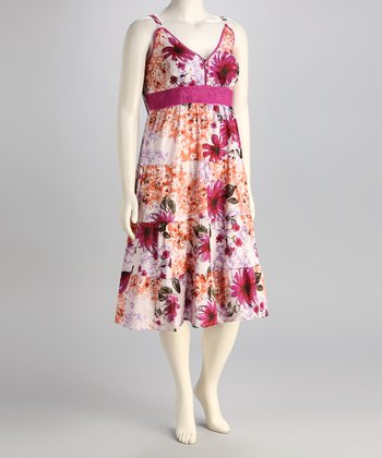 Claudia Richard Violet Floral Plus-Size Empire Waist Dress