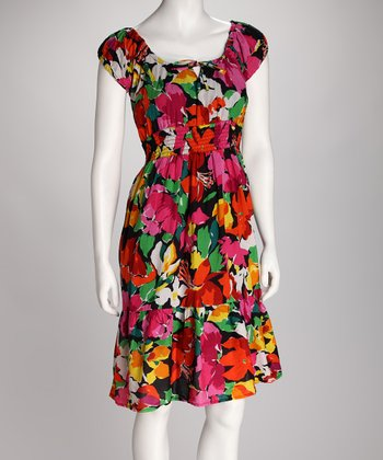 Black & Pink Floral Cap-Sleeve Dress