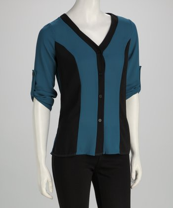 Black & Teal Color Block Top