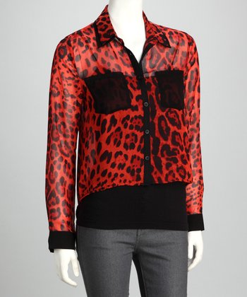 Timing Orange Sheer Leopard Shirttail Button-Up