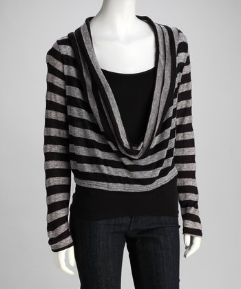 Clothing Showroom Black & Gray Stripe Cowl Neck Top