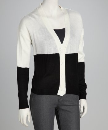 Black & White Color Block Cardigan