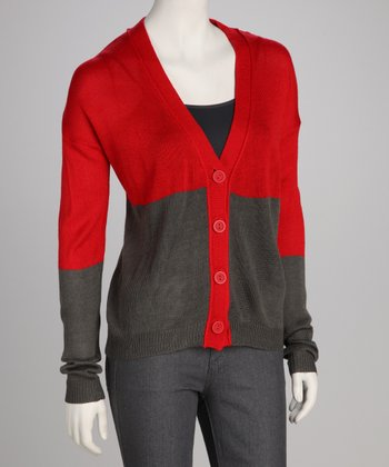 Red & Gray Color Block Cardigan