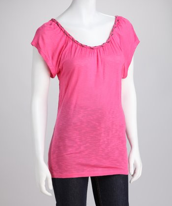 Pink Braided Trim Top
