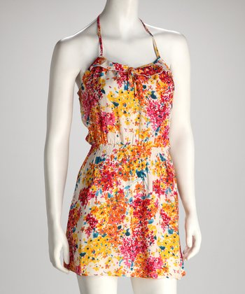Ivory & Yellow Floral Racerback Dress