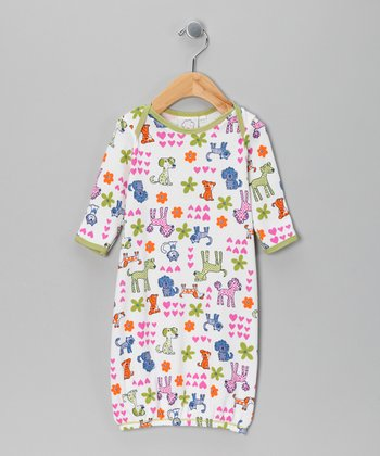 White Neon Doggie Convertible Gown - Infant