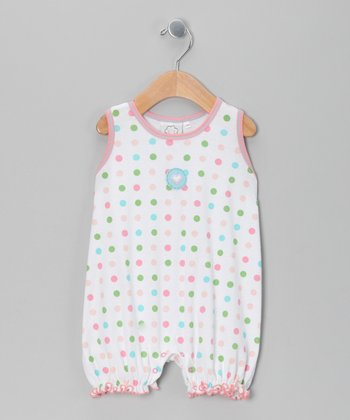 White & Pink Polka Dot Sleeveless Romper - Infant
