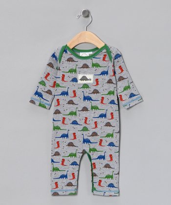 Gray & Green Dinosaur Playsuit - Infant