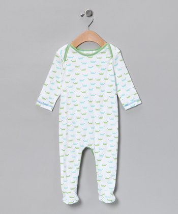 White & Aqua Boat Footie - Infant