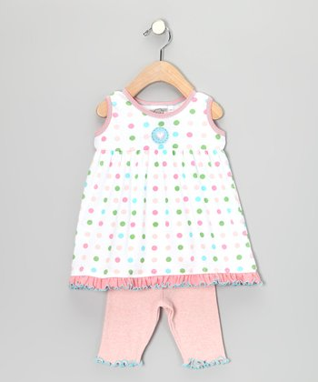 White Polka Dot Tunic & Capri Leggings - Infant