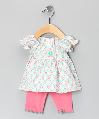 Aqua Flower Puff-Sleeve Tunic & Capri Leggings - Infant