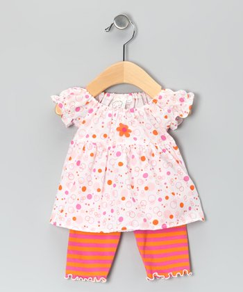 Orange Flower Puff-Sleeve Tunic & Capri Leggings - Infant