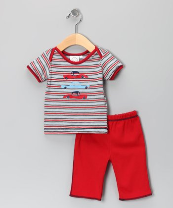 Gray Stripe Classic Car Tee & Pants - Infant