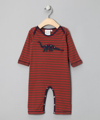 Brown Stripe Dinosaur Playsuit - Infant