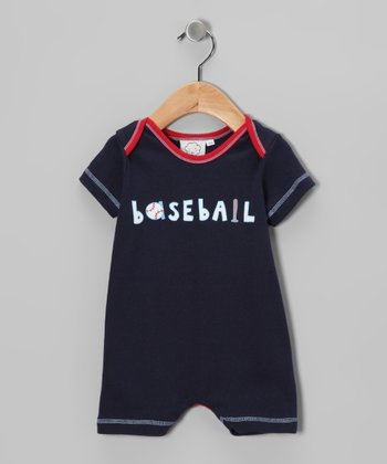 Navy 'Baseball' Romper - Infant