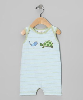 Light Blue Turtle Sleeveless Romper - Infant