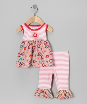 Pink Stripe Flower Tank & Ruffle Capri Leggings - Infant
