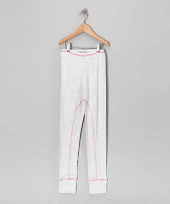Creations Robo Heather Gray & Pink Stitch Pants - Girls