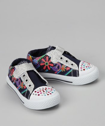 Black Sparkle Peace Sneaker