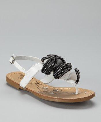 White Zipper Sandal