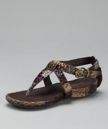 Brown Buckle T-Strap Sandal