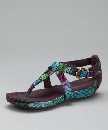 Purple Buckle T-Strap Sandal