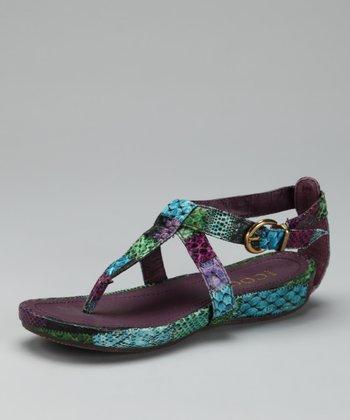 Purple Buckle T-Strap Sandal