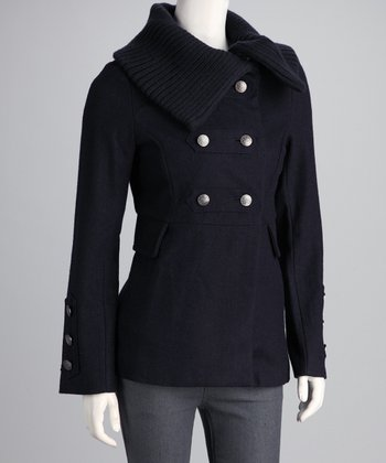 Navy Wool-Blend Collared Jacket