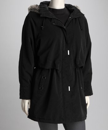 Coffeeshop Black Plus-Size Hooded Stadium Jacket