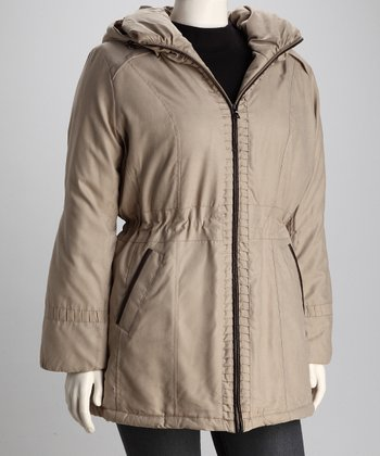 Coffeeshop Safari Plus-Size Hooded Stadium Jacket