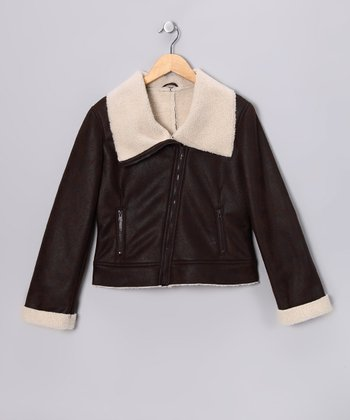 Distressed Brown Faux Shearling Bomber Jacket
