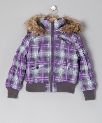 Purple Plaid Puffer Coat