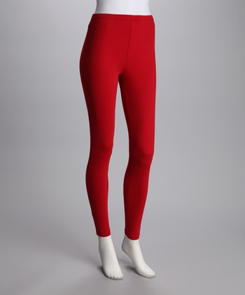 Red Opaque Leggings