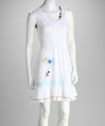 White Embroidered Dress - Women