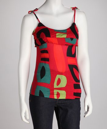 Red Abstract Camisole - Women
