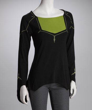 Black & Green Sidetail Top