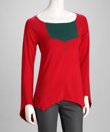 Red & Green Sidetail Top
