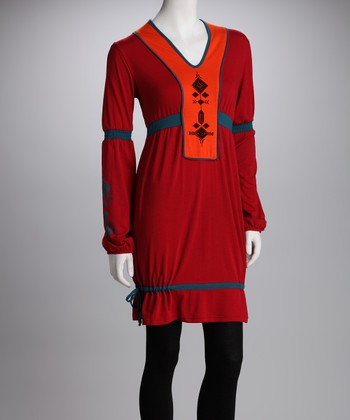 Red Embroidered Collar Dress