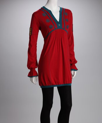 Red & Blue Embroidered Tunic