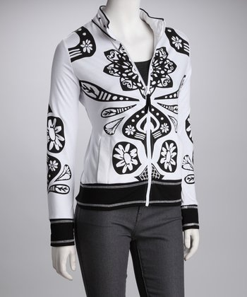 White & Black Graphic Jacket