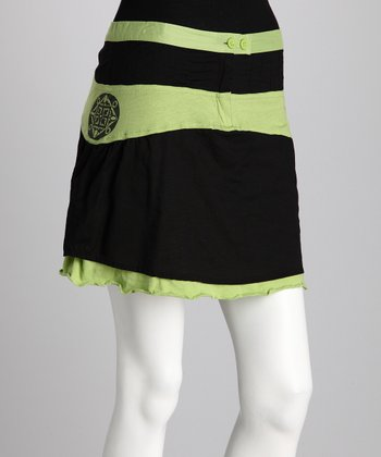 Black & Lime Green Skirt - Women
