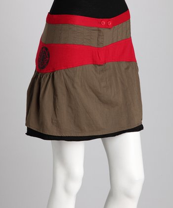 Khaki & Red Skirt - Women