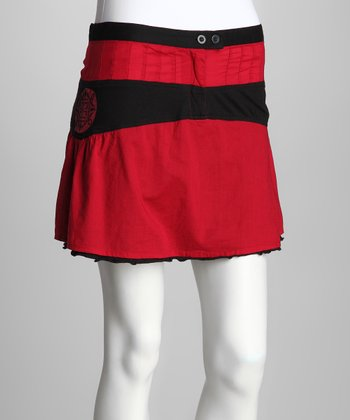 Red & Black Skirt - Women