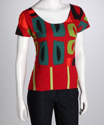 Red Abstract Top - Women
