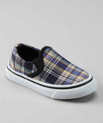Gray & Blue Plaid Slip-On Shoe